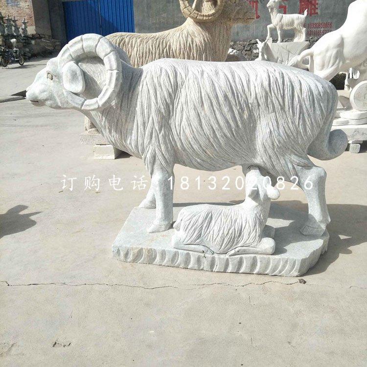 羊羔跪乳石雕,汉白玉动物雕塑