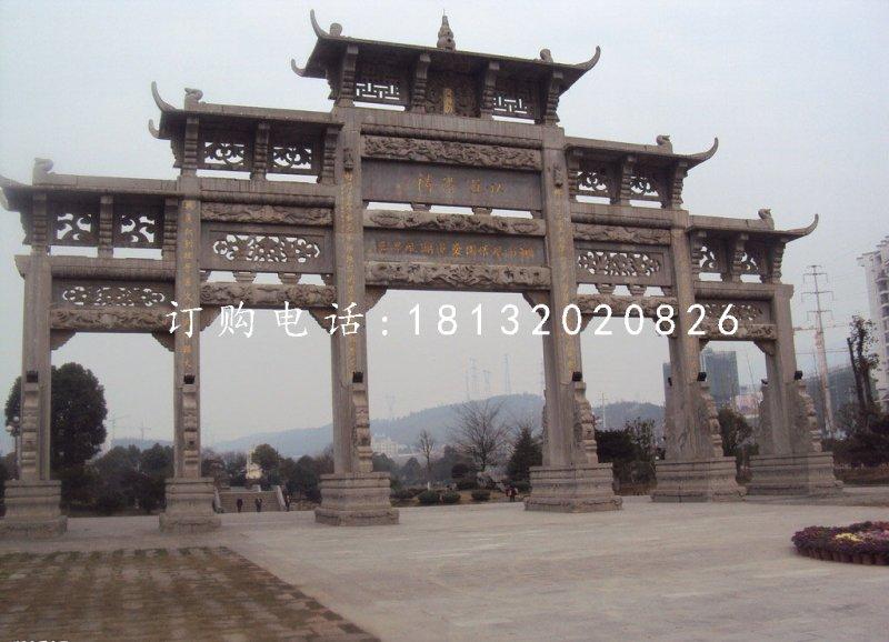 五门石牌坊雕塑广场牌楼石雕