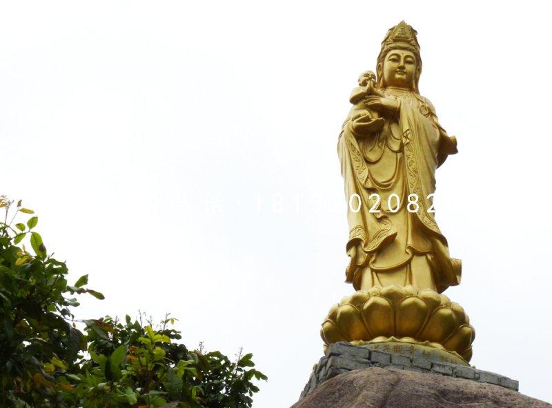 送子观音铜雕寺庙铜佛像雕塑
