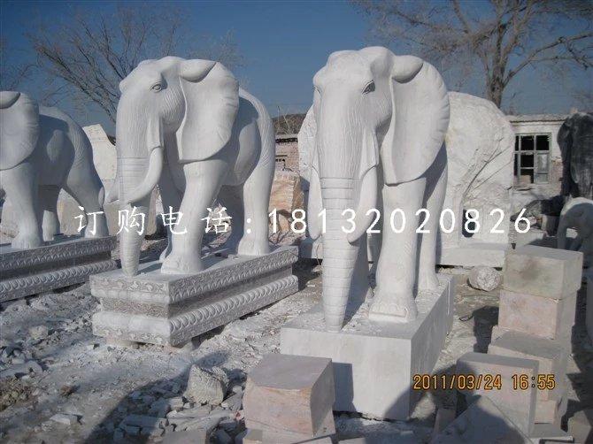 石头大象雕塑汉白玉石雕