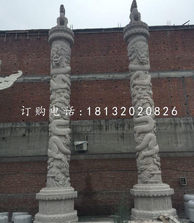 石雕盘龙柱,广场柱子雕塑