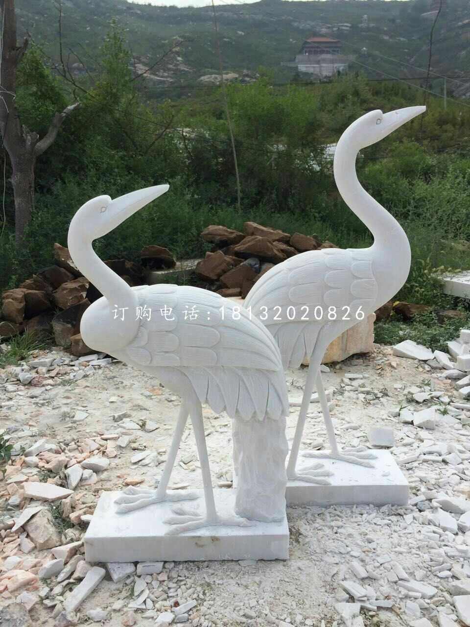 汉白玉仙鹤雕塑