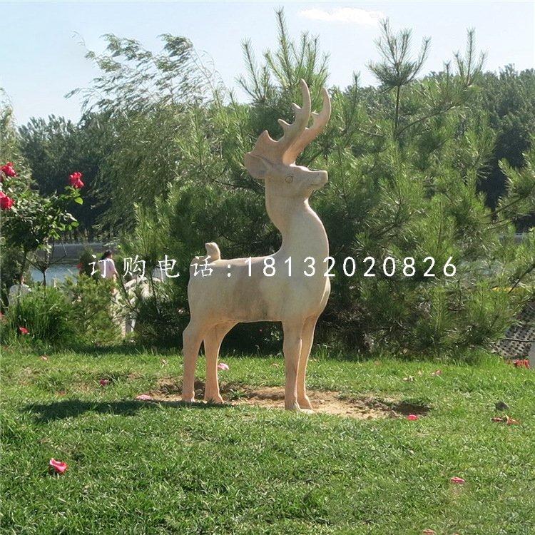 小鹿石雕,晚霞红动物雕塑