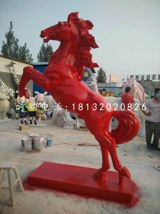 玻璃钢立马雕塑,喷漆动物雕塑