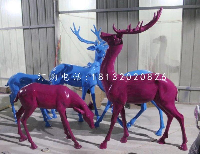驯鹿雕塑,玻璃钢彩色鹿雕塑