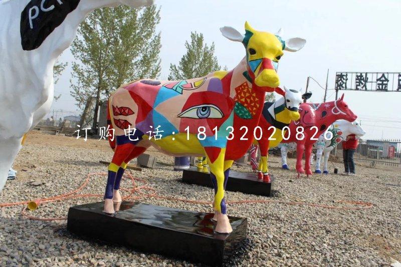 小牛雕塑,玻璃钢彩绘动物
