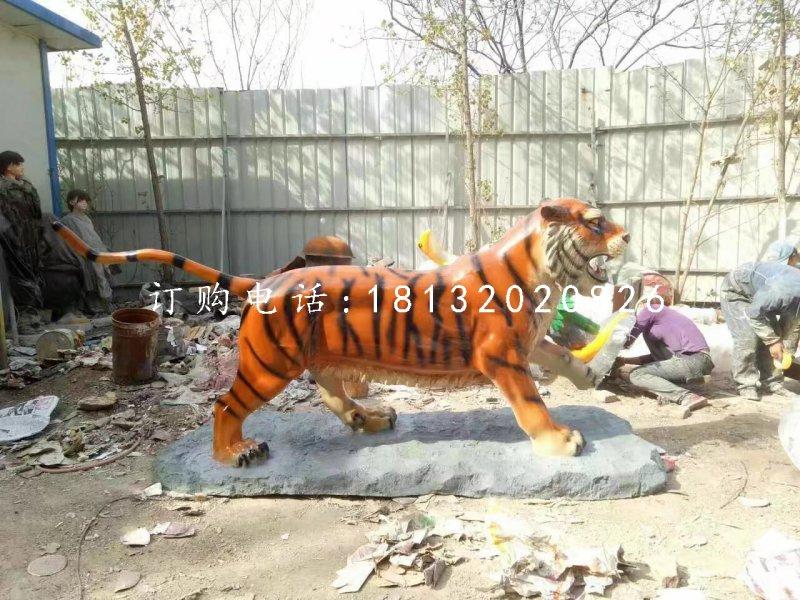 老虎雕塑,玻璃钢仿真老虎