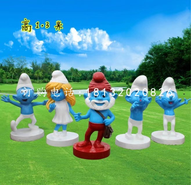 玻璃钢蓝精灵雕塑,卡通雕塑