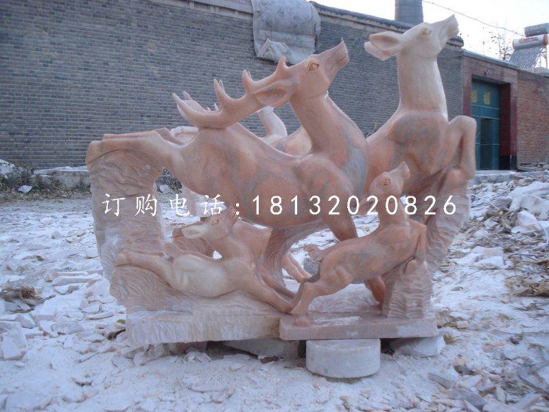 跳跃的小鹿,晚霞红动物雕塑