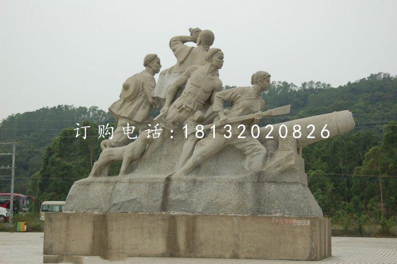 清朝人抗击倭寇石雕,广场纪念石雕
