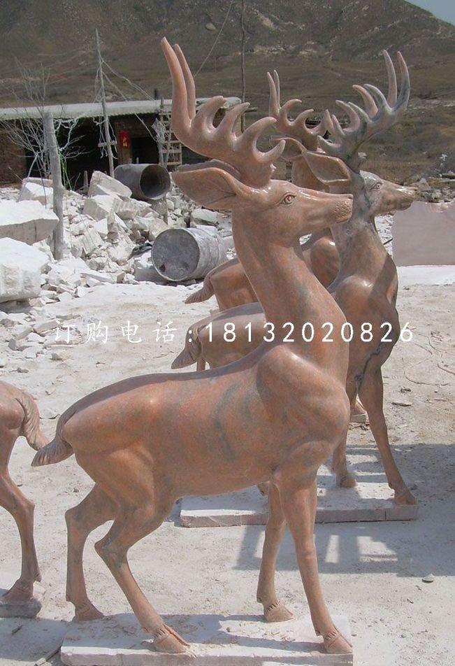 晚霞红小鹿雕塑,公园小鹿石雕