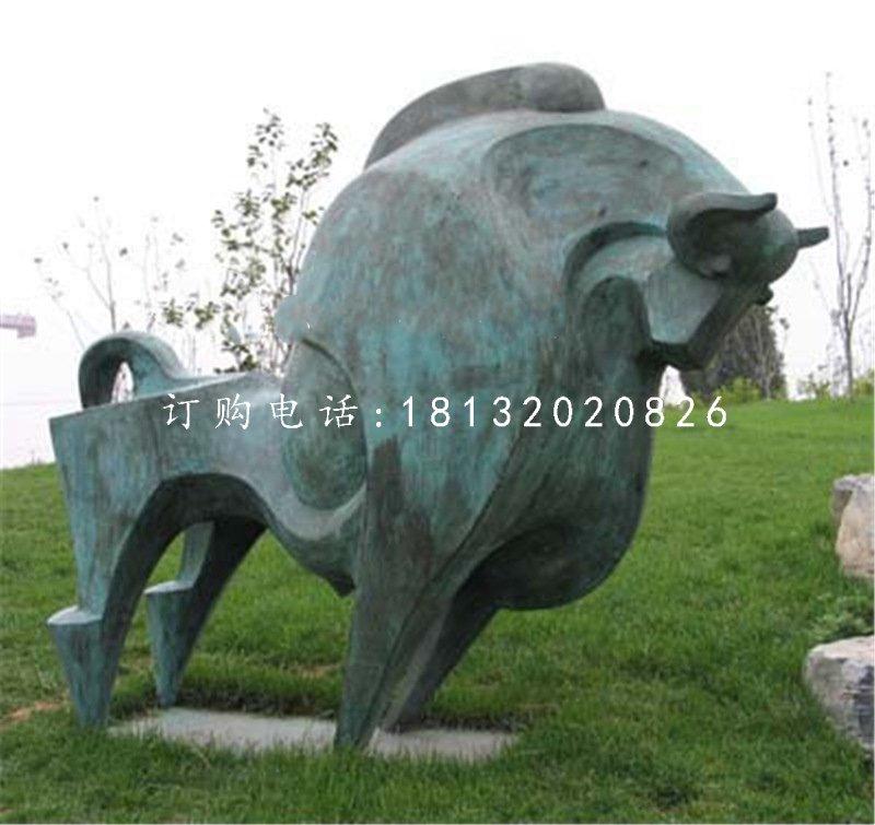 抽象牛雕塑,青铜开荒牛