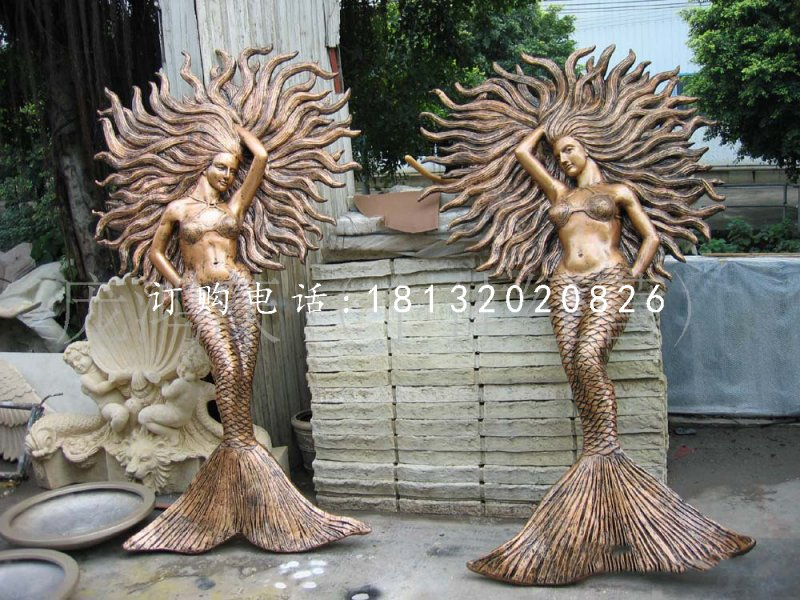 美人鱼雕塑,玻璃钢仿铜雕