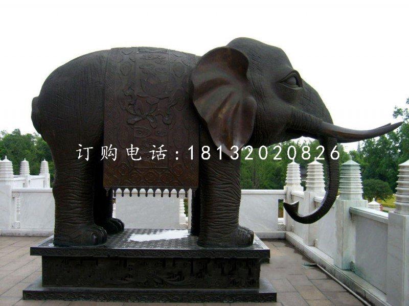 铜雕大象,寺庙铜大象雕塑