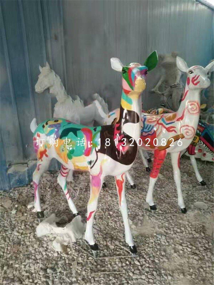 小鹿雕塑,玻璃钢彩绘动物