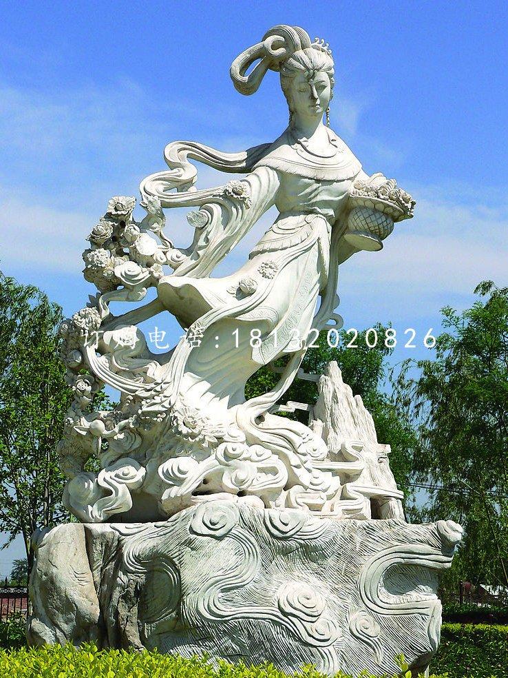 天女散花石雕,公园仙女雕塑
