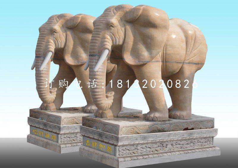 晚霞红大象,广场石雕大象