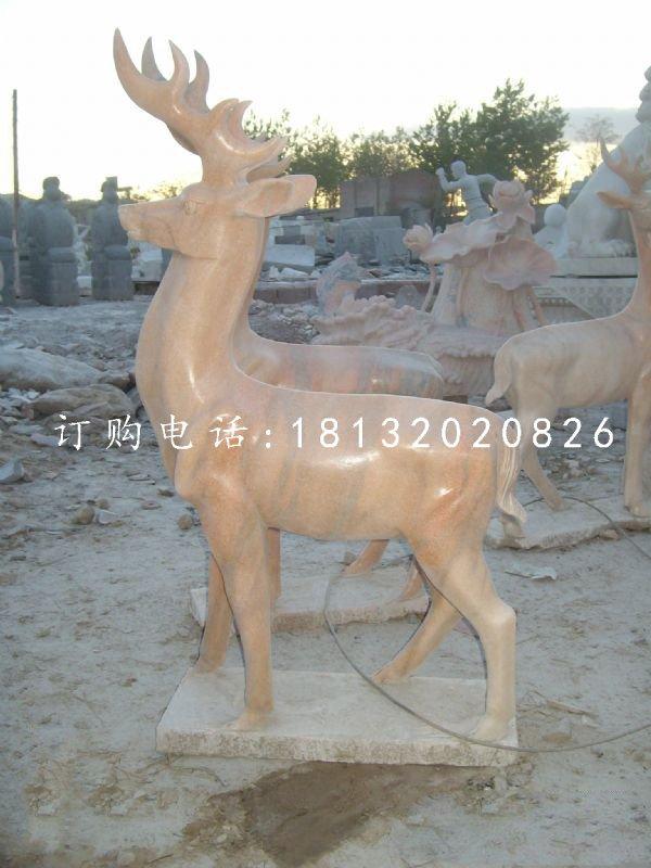 晚霞红小鹿,动物石雕