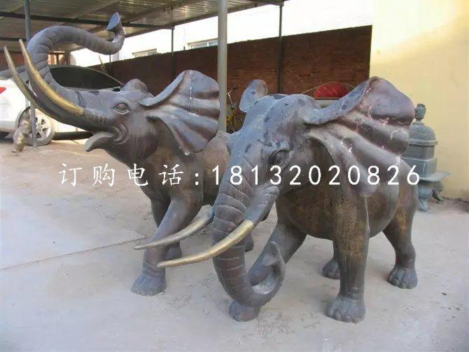 大象铜雕,象鼻向上铜雕