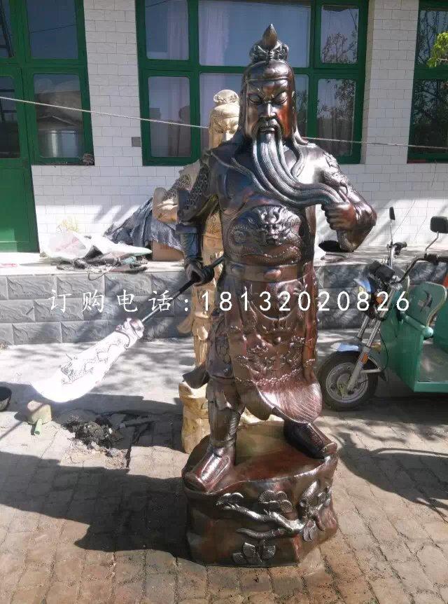 提刀关公铜雕,立式武财神