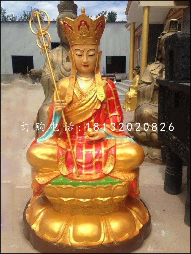 铜雕彩绘地藏王,坐式佛像雕塑