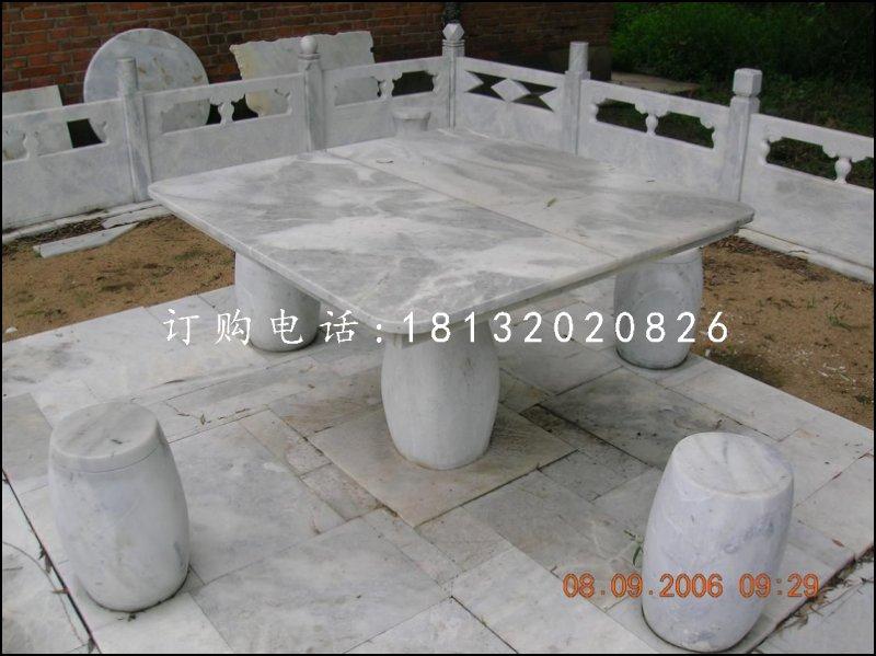 方桌圆凳石雕,公园休息椅