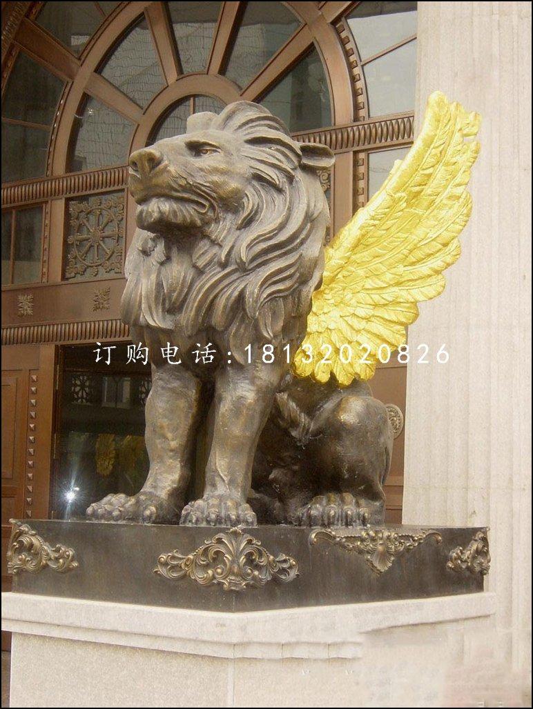 飞狮铜雕,银行门口铜狮子