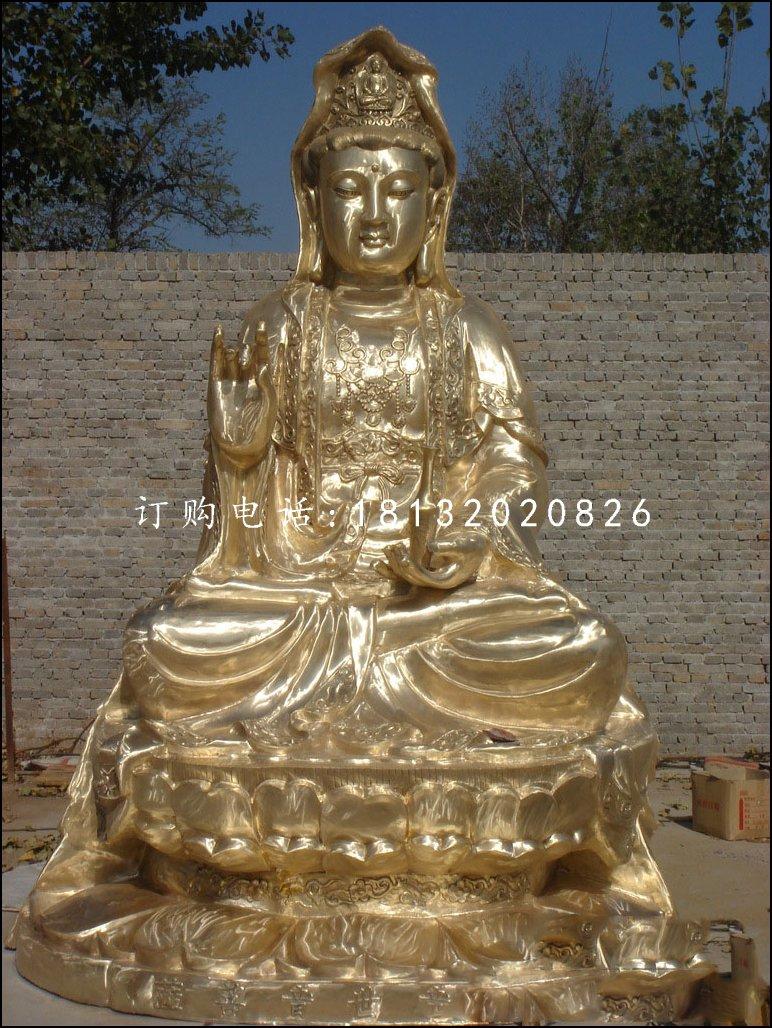观音菩萨铜雕,坐式佛像
