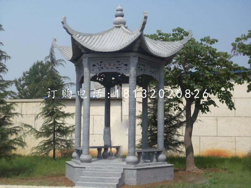 六角青石凉亭,公园景观石雕