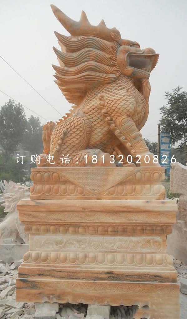 晚霞红麒麟雕塑,广场石雕神兽
