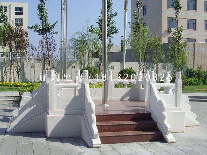 汉白玉升旗台雕塑,广场石雕栏板