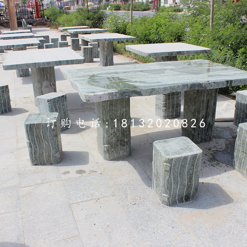 方桌石雕,大理石桌椅