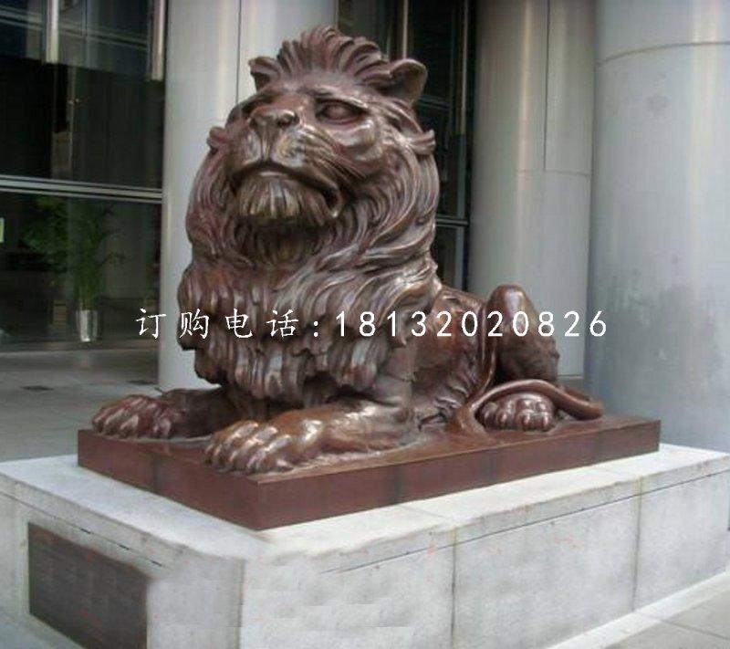 趴着的西洋狮铜雕,铜狮子