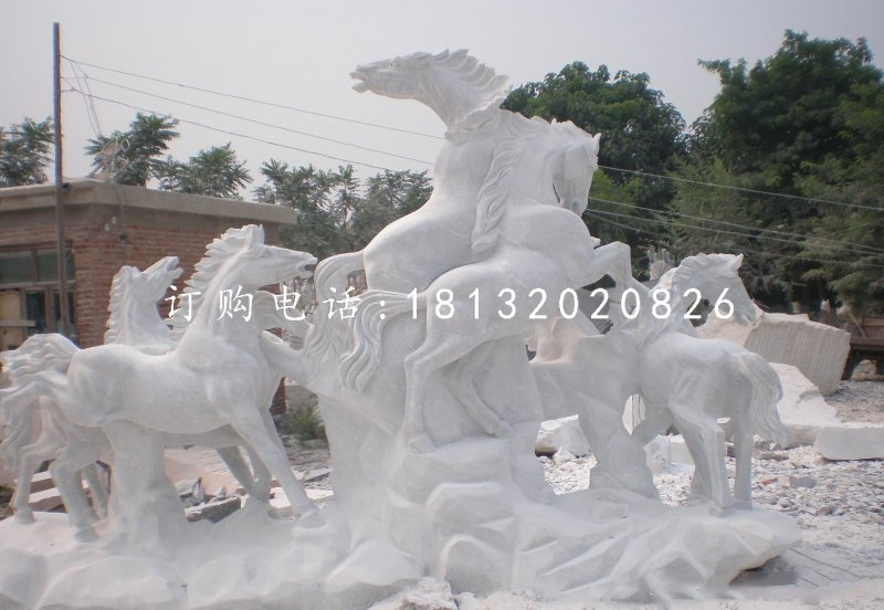 骏马石雕,汉白玉动物石雕
