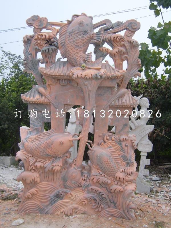 鲤鱼跃龙门石雕,晚霞红景观雕塑