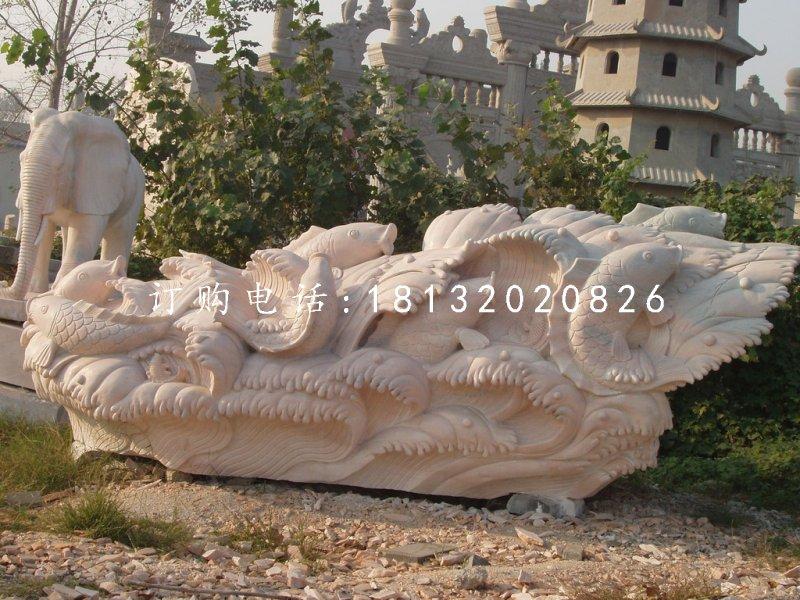 鲤鱼石雕,晚霞红动物石雕