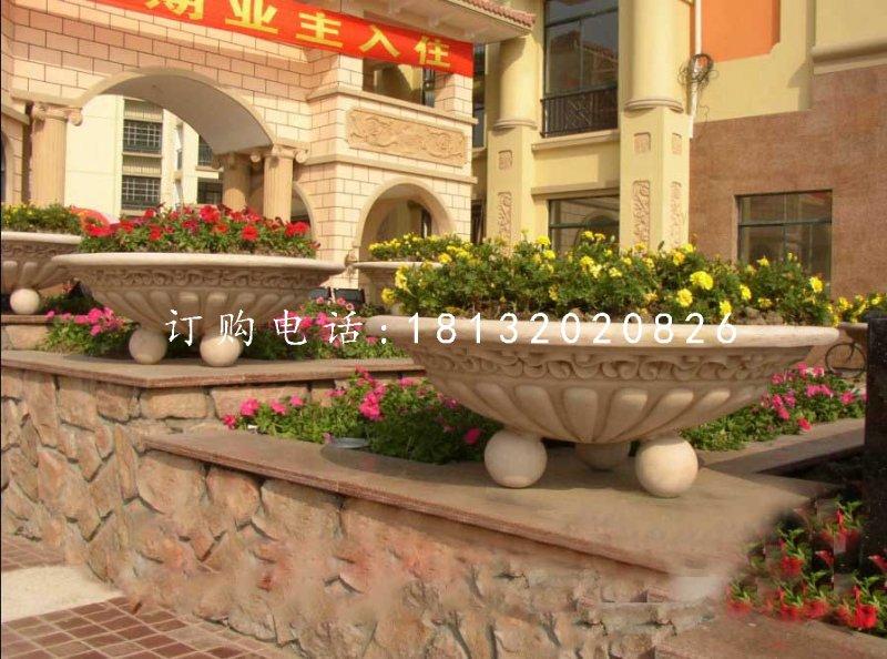 小区石花盆,景观石雕