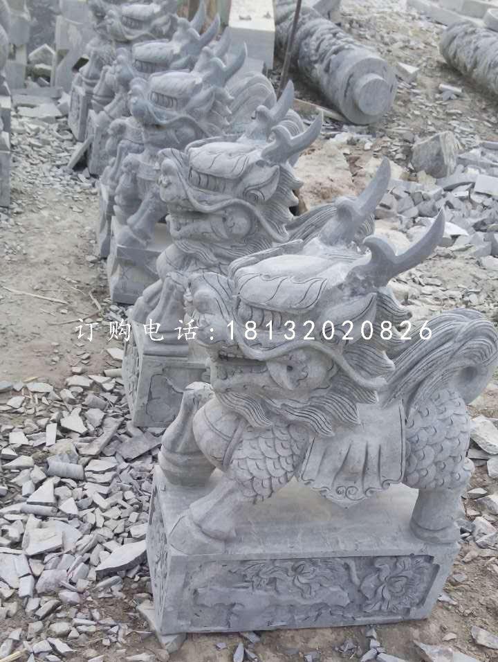 小型麒麟石雕,青石麒麟雕塑