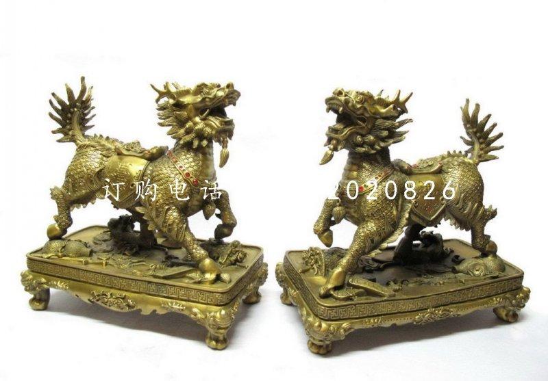 铸铜麒麟雕塑,铜雕神兽