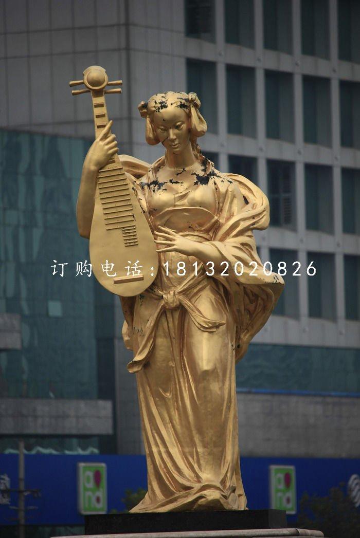 乐妓雕塑,广场人物铜雕