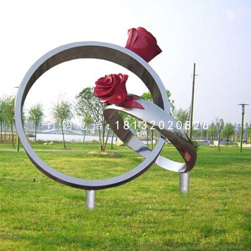 不锈钢玫瑰花戒指公园不锈钢雕塑