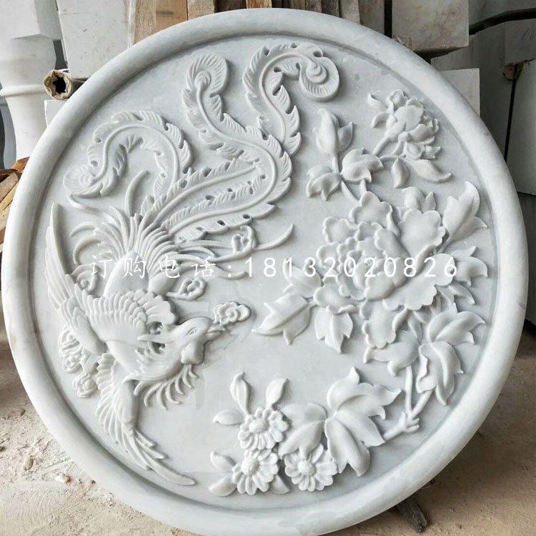 汉白玉凤凰牡丹石浮雕墙壁石浮雕
