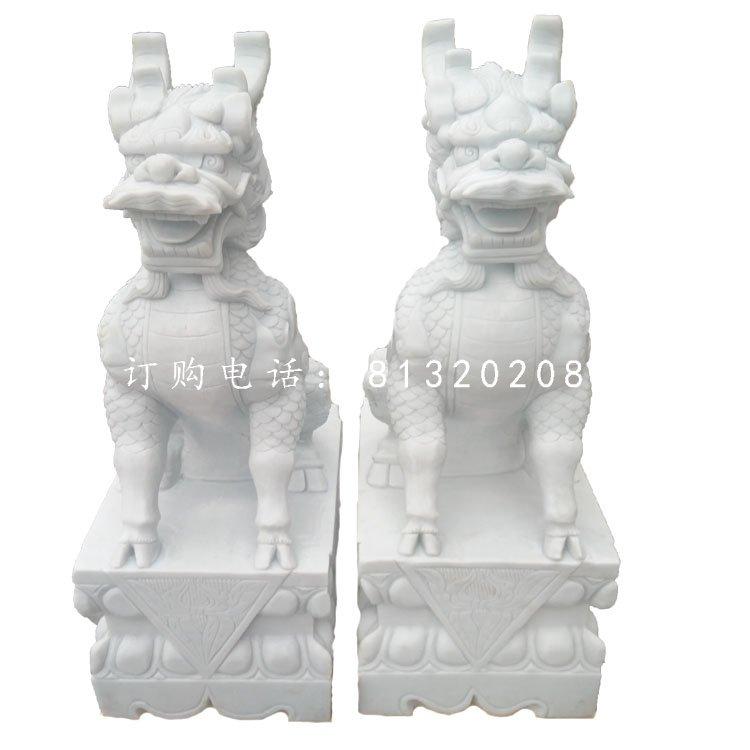 汉白玉麒麟雕塑门口麒麟石雕