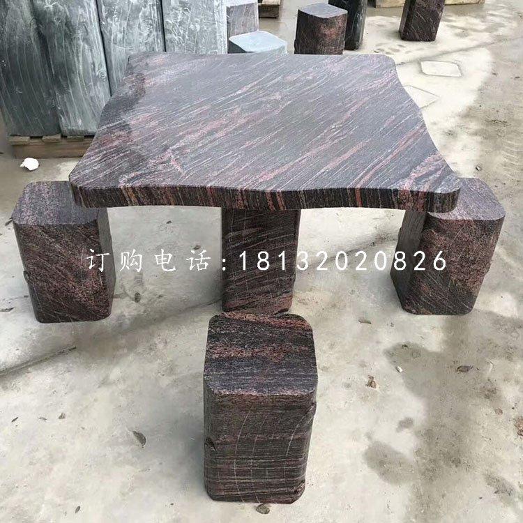 石雕方桌凳,公园桌凳石雕