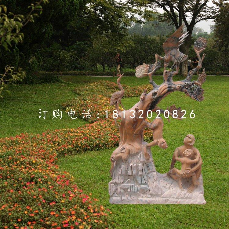 松鹤延年石雕,晚霞红景观石雕