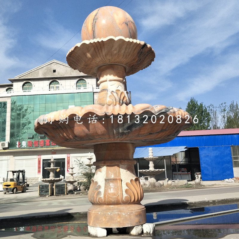 晚霞红风水球喷泉,双层风水球雕塑