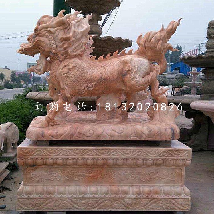 晚霞红麒麟,古代神兽石雕,门口麒麟石雕