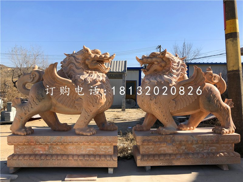 晚霞红貔貅石雕 门口神兽雕塑