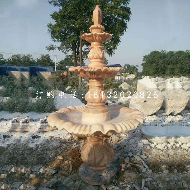 晚霞红三层喷泉公园喷泉石雕
