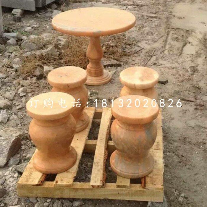 晚霞红石桌凳,公园桌凳石雕
